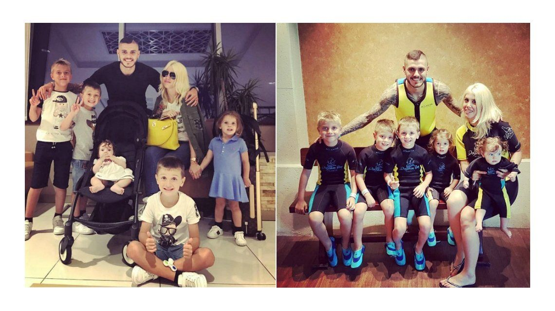 Todas las fotos de Wanda Nara y Mauro Icardi con sus hijos en Dubai