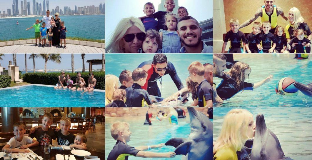 Las vacaciones de Wanda e Icardi con sus hijos.