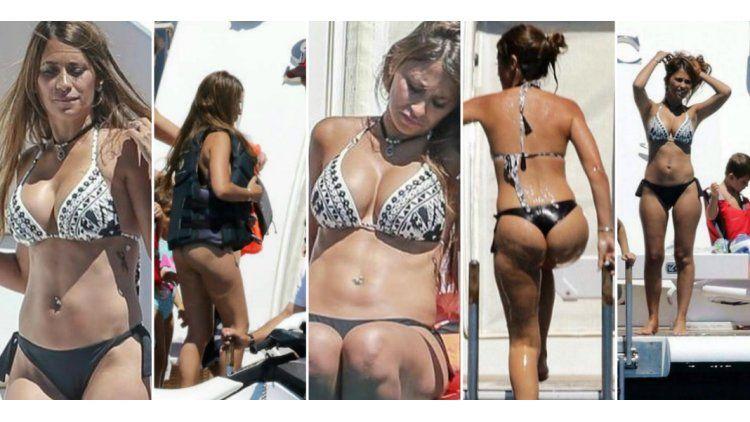 Antonella Roccuzzo lució sus curvas en Ibiza.