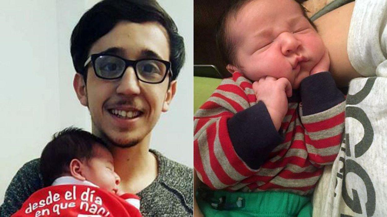 Rodrigo Noya junto a Baurista a días de nacer