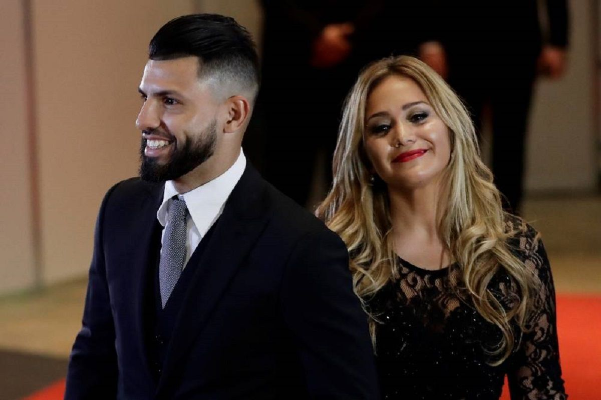 El Kun Agüero y Karina La Princesita en el casamiento de Messi