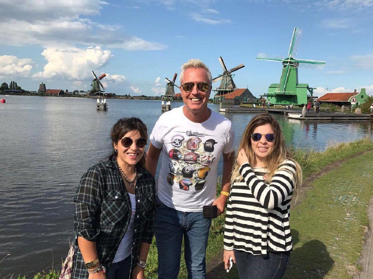 Marley con Gianinna y Dalma Maradona en Países Bajos