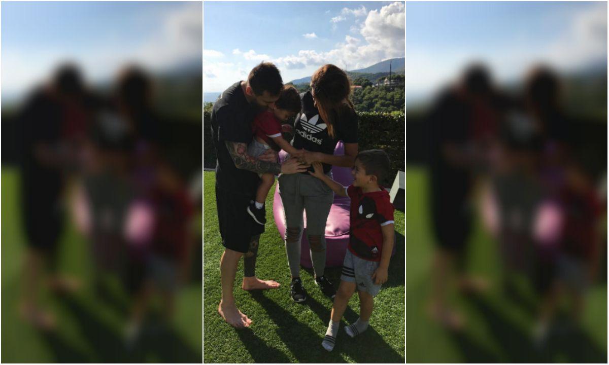 La tierna foto de Messi y Antonela junto a sus hijos