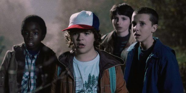 <p>Eleven, Mike, Dustin, Lucas y Will Byers</p><p></p>