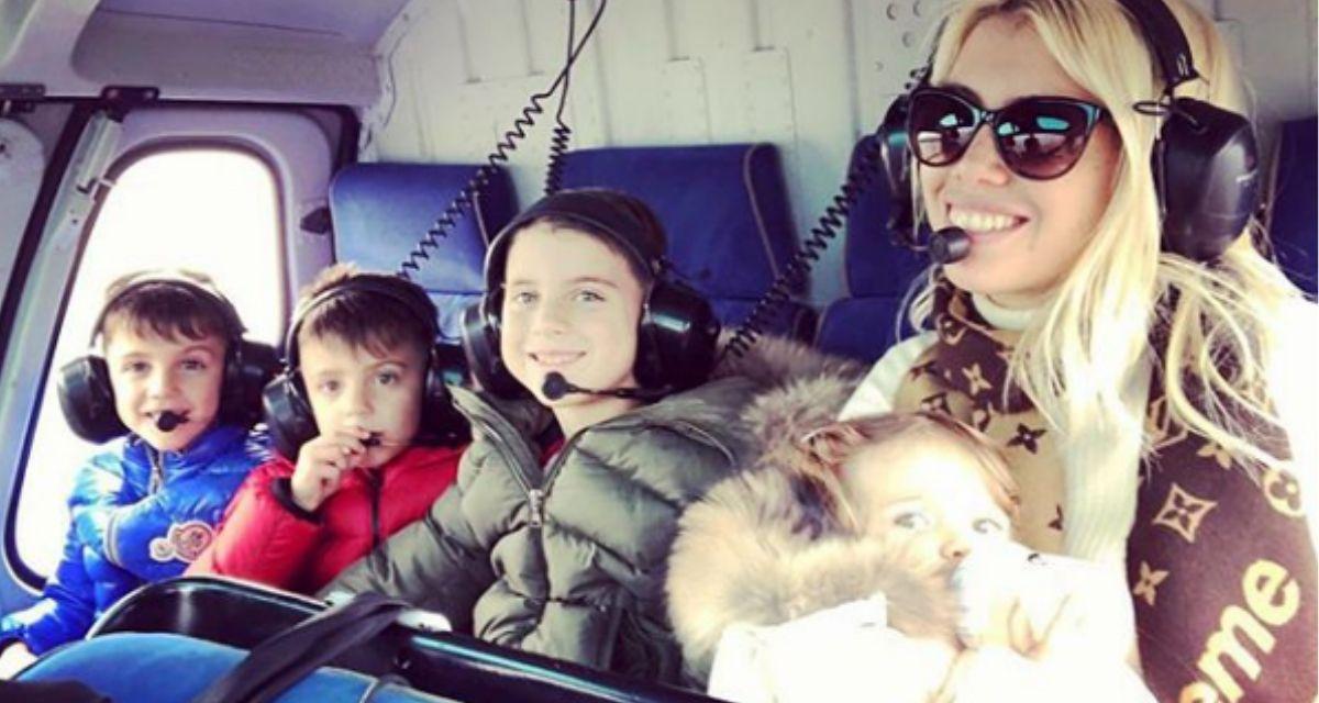 Wanda y sus hijos en pleno viaje