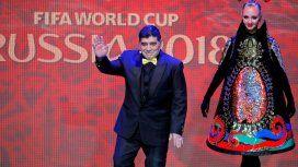 Maradona en la presentación del Mundial