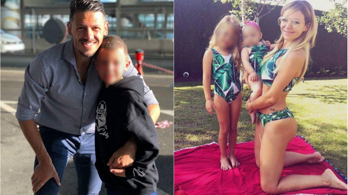 Martín Demichelis y Eva Anderson junto a sus hijos Bastian