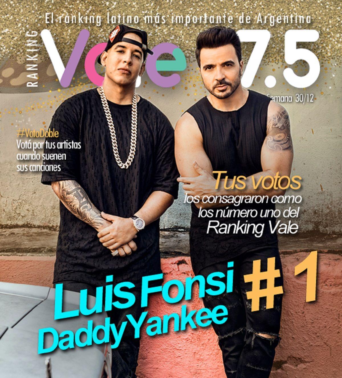 Luis Fonsi y Daddy Yankee, los reyes del Ranking Vale en el 2017