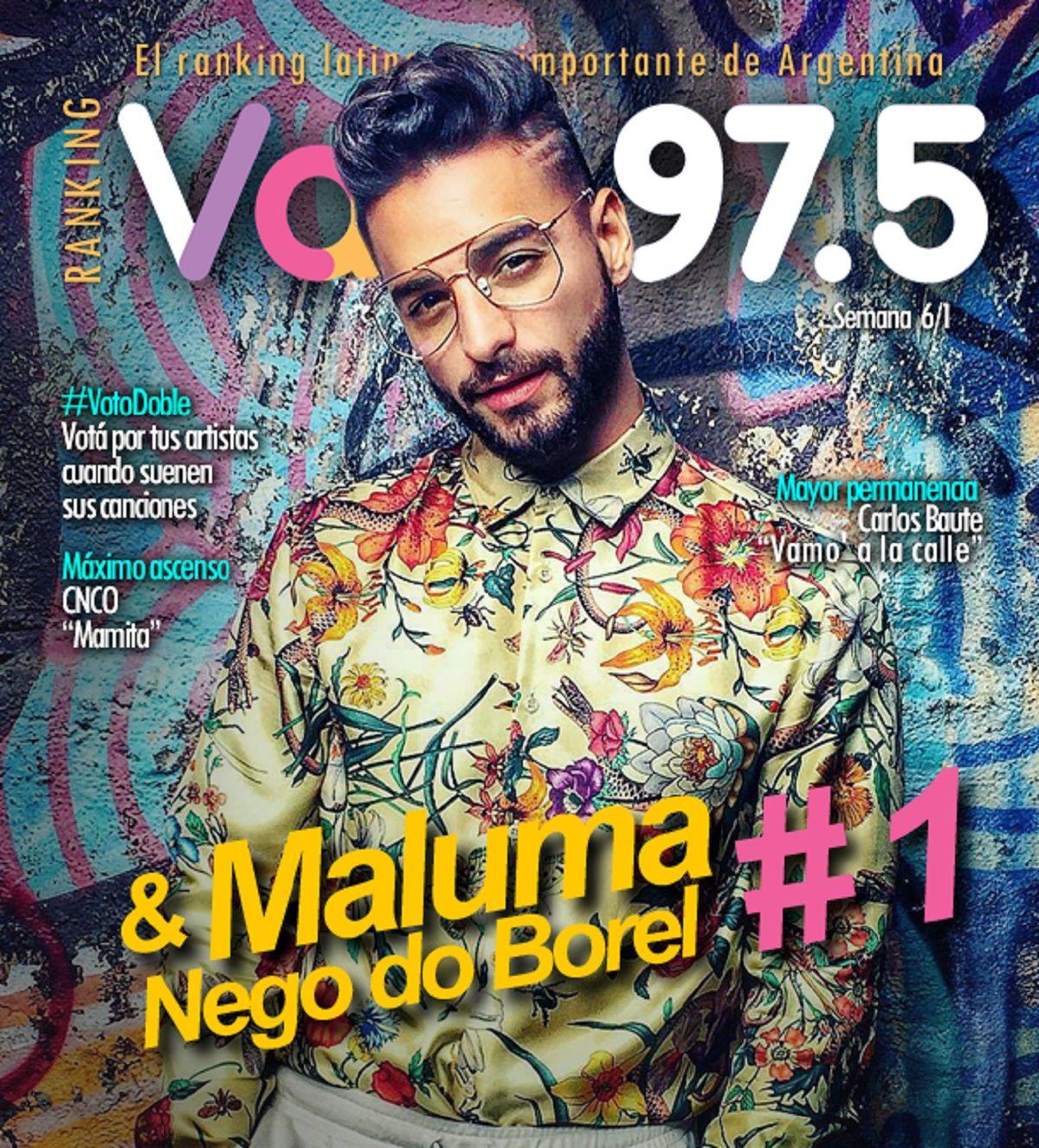 Maluma empezó 2018 como líder de Ranking Vale
