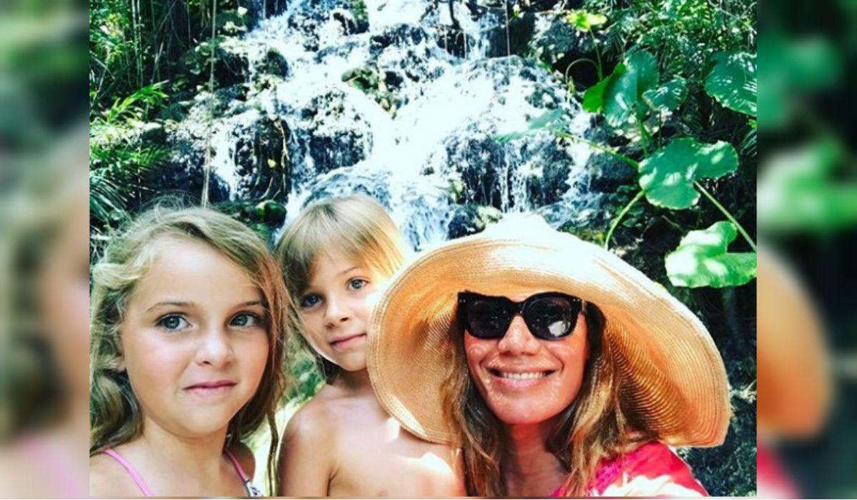 Flor junto a Isabella y Paul Goycochea de vacaciones