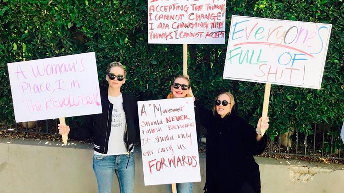 Adele, Jennifer Lawrence y Cameron Díaz marcharon contra Trump