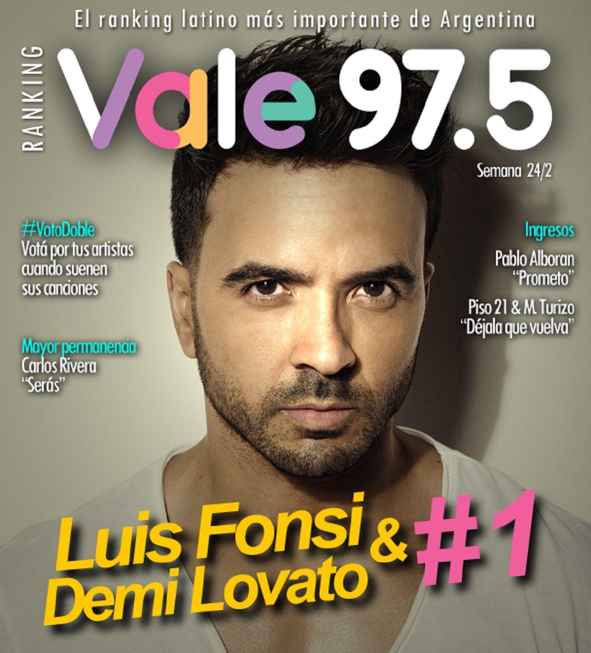 Luis Fonsi y Demi Lovato, líderes del Ranking Vale
