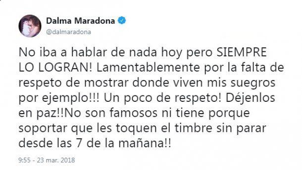 El enojo de Dalma Maradona en el día de su casamiento