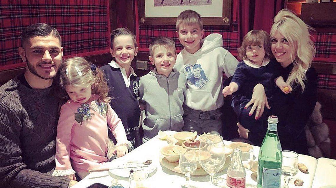 Como en La casa de papel: la foto de los hijos de Wanda Nara con caretas de Icardi