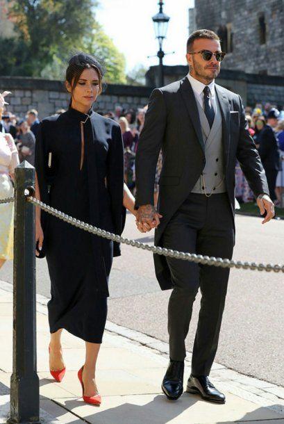 Victoria y David Beckham no pasaron desapercibidos en la boda real<br>