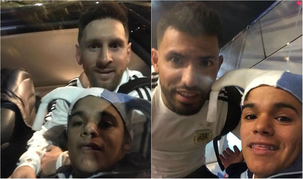 Buley muy contento junto a Messi y Agüero