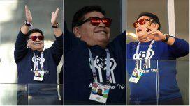 Maradona se llevó una fuerte ovación en su ingreso al estadio de Spartak Moscú