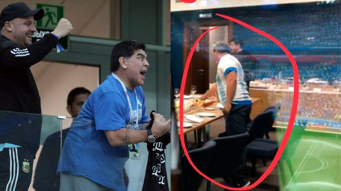 La imagen del hombre comiendo en pleno desmayo de Maradona
