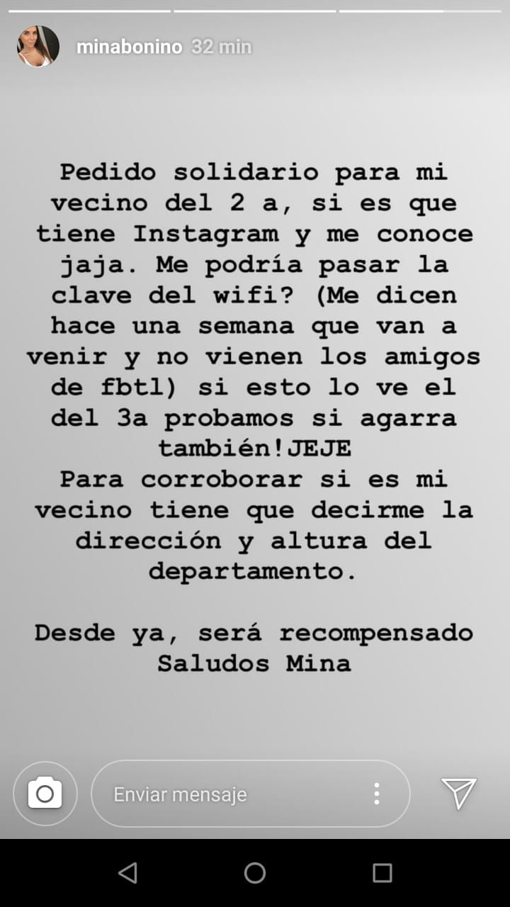 El insólito pedido de Mina Bonino a sus vecinos a través de Instagram