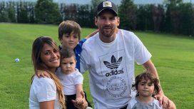 Messi junto a su familia.