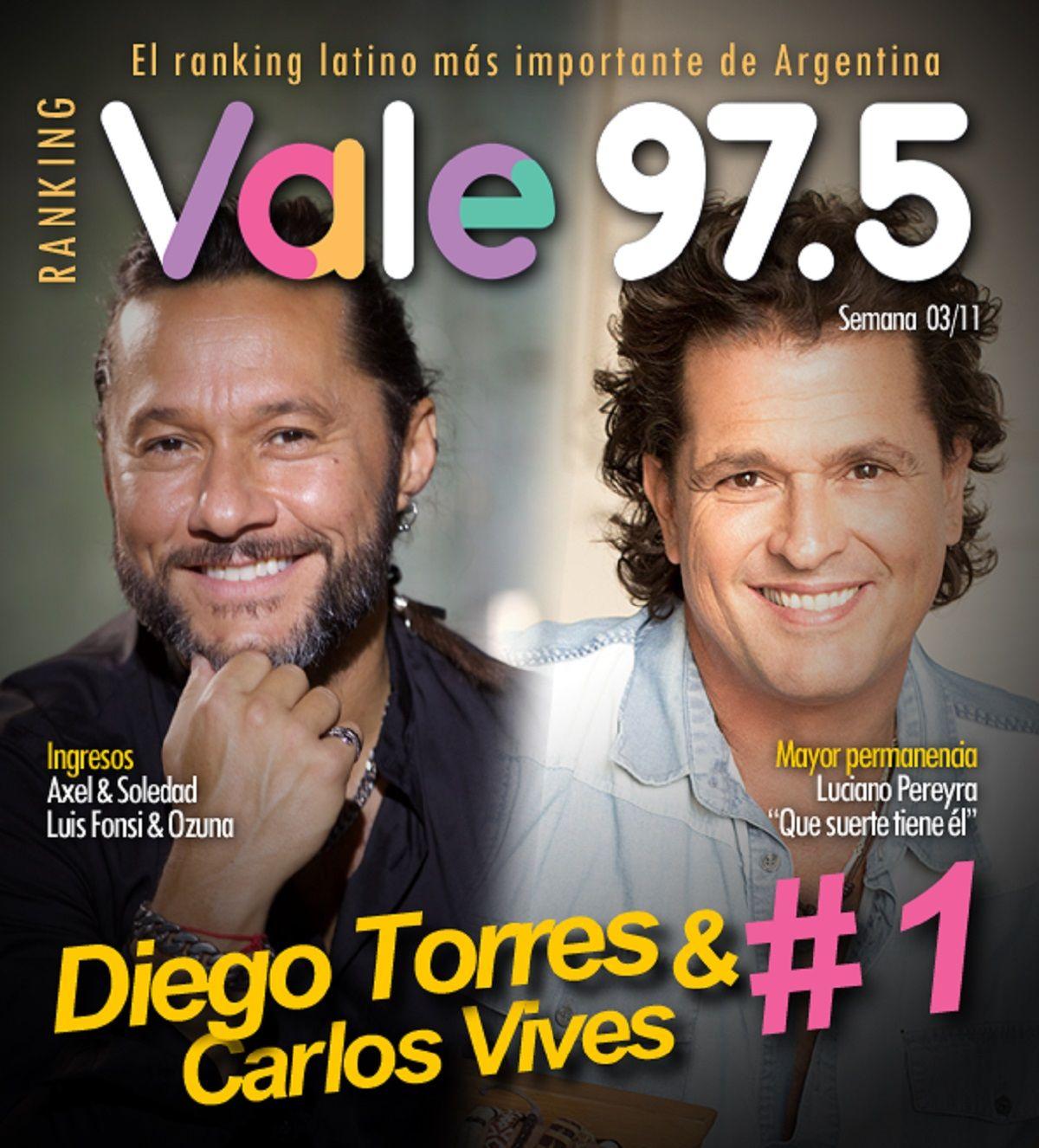 Diego Torres y Carlos Vives siguen al frente del Ranking Vale