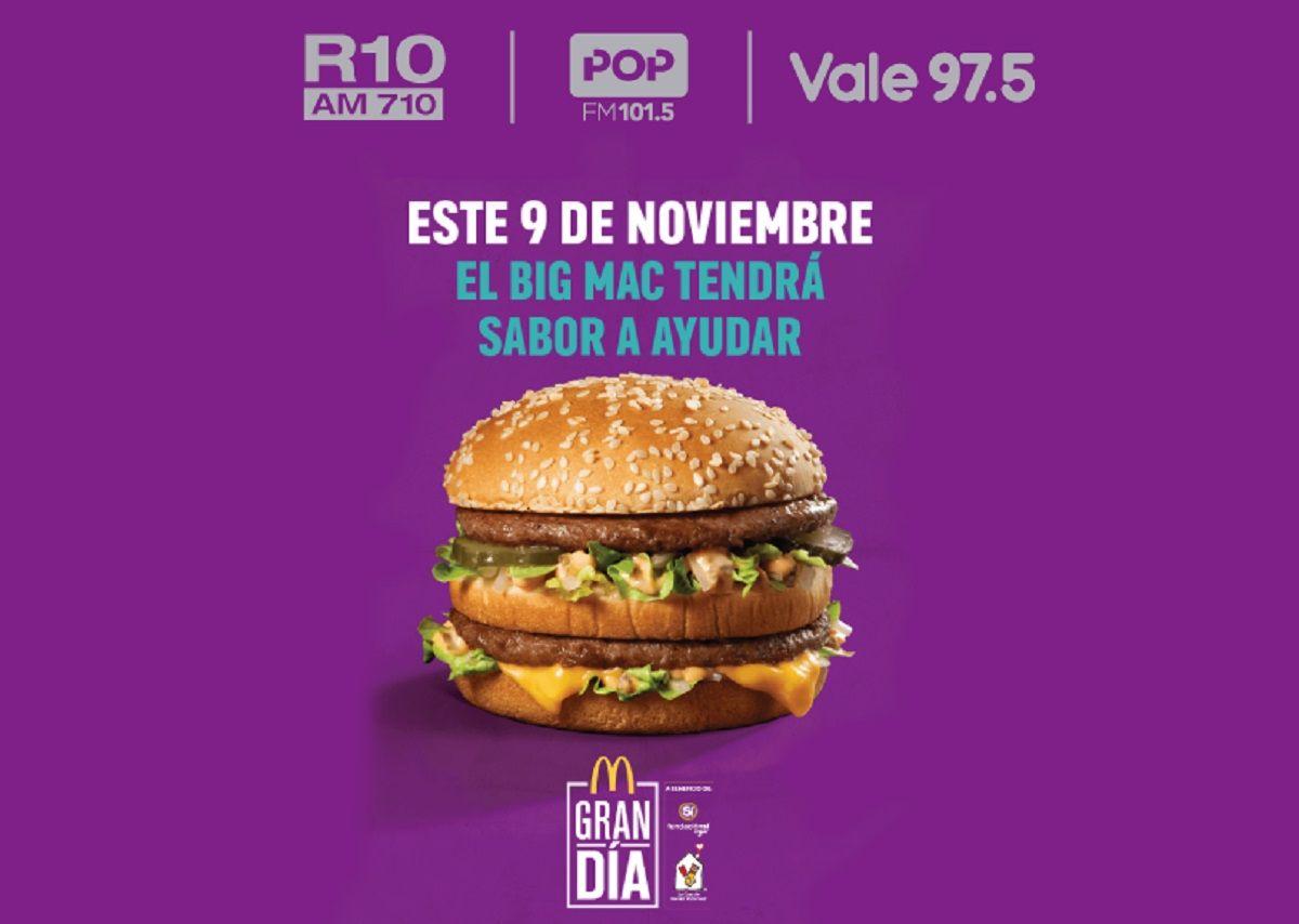 Pop 101.5, Radio 10 y Vale 97.5 transmitirán la jornada solidaria de McDonalds junto a Casa Ronald y Fundación Sí