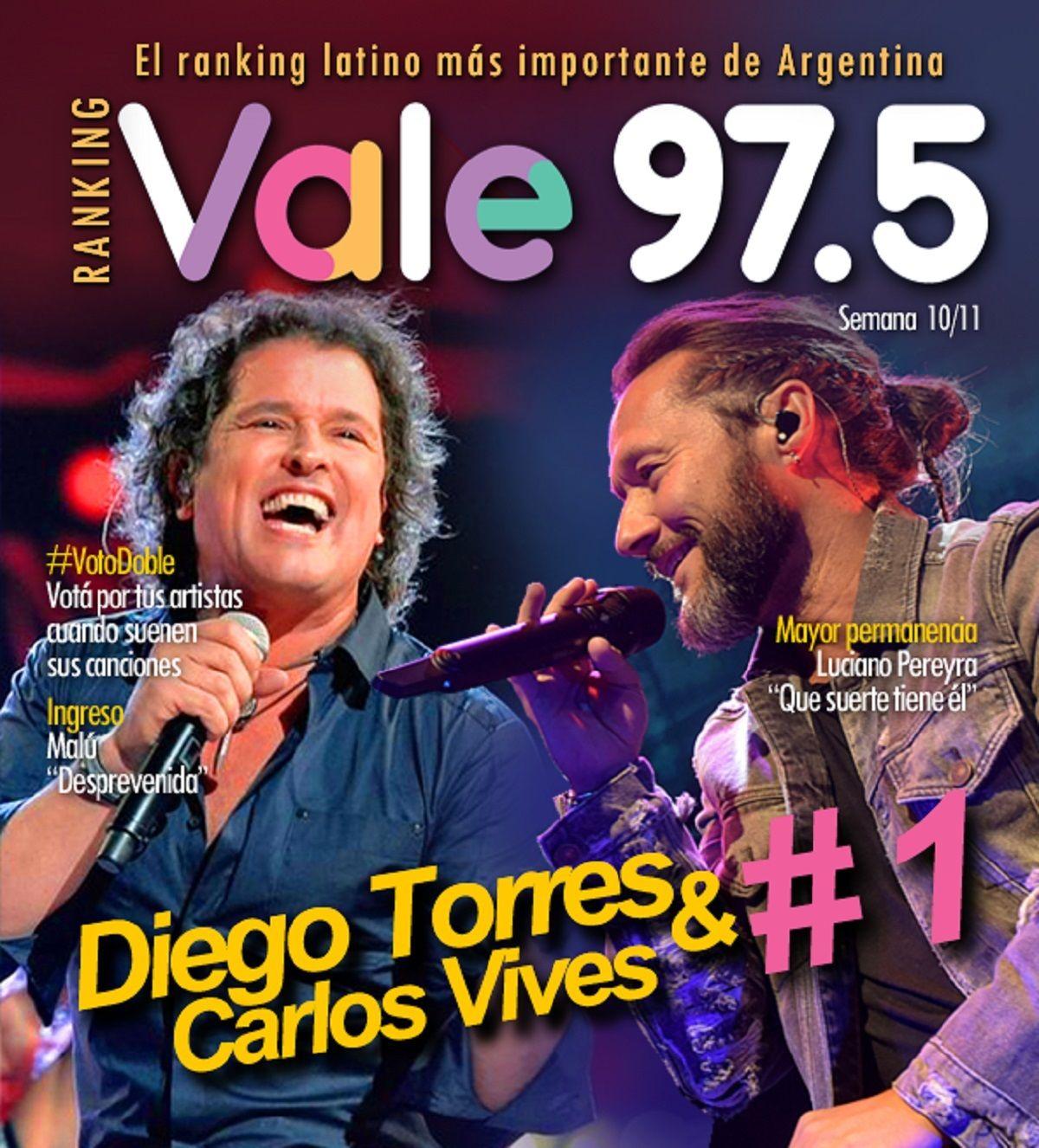 Un poquito, de Diego Torres y Carlos Vives, imparable en el Ranking Vale