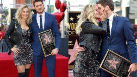 Acompañado por Luisana Lopilato, Michael Bublé recibió una estrella en el Paseo de la Fama