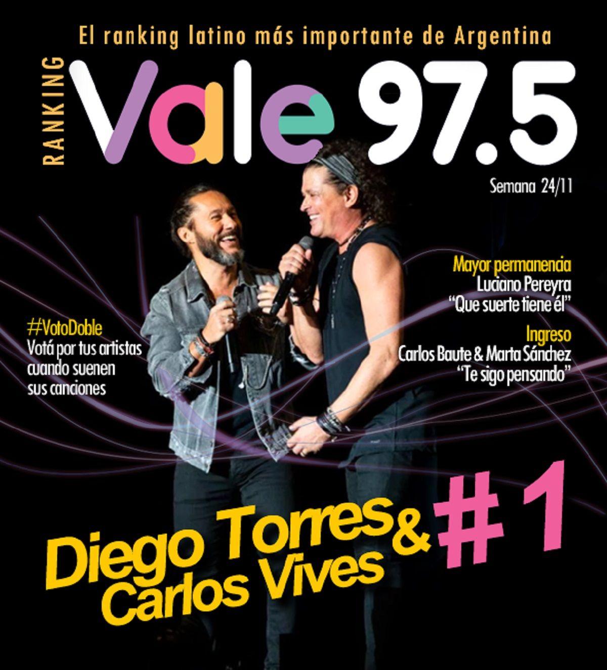 Diego Torres y Carlos Vives volvieron a la cima del Ranking Vale