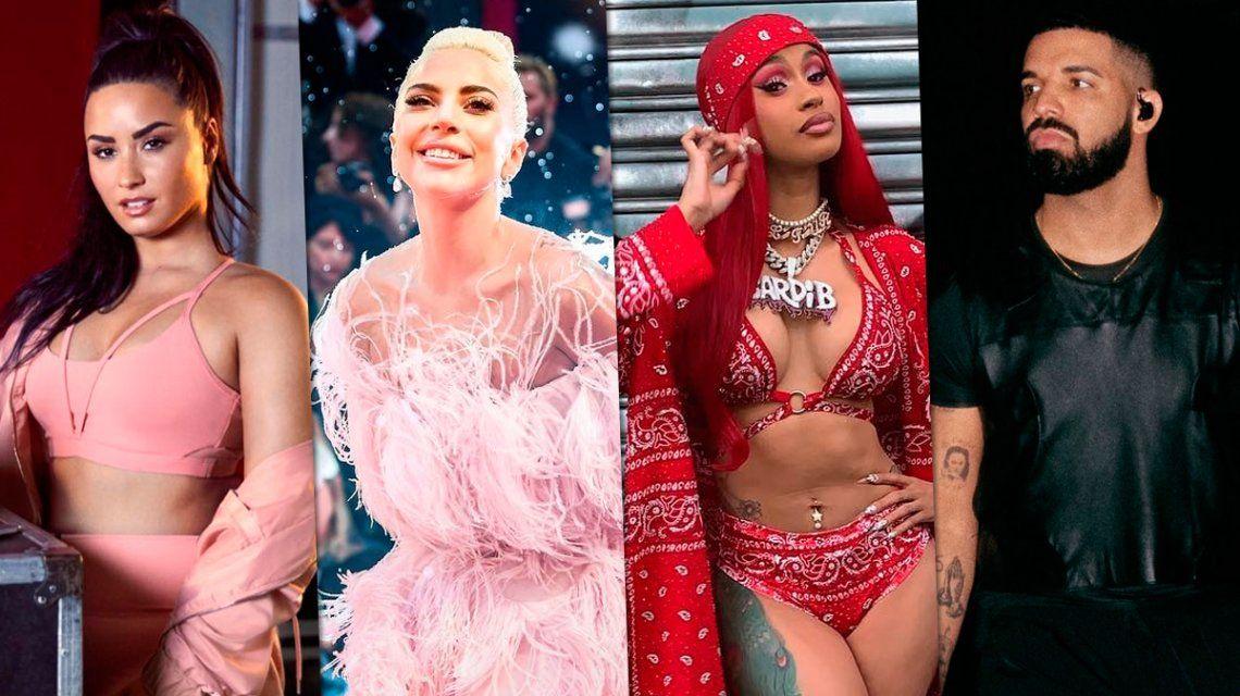 Demi Lovato, Lady Gaga, Cardi B y Drake, entre los nominados a los Grammy