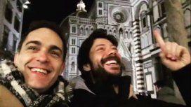 Berlín y El Profesor grabando en Italia