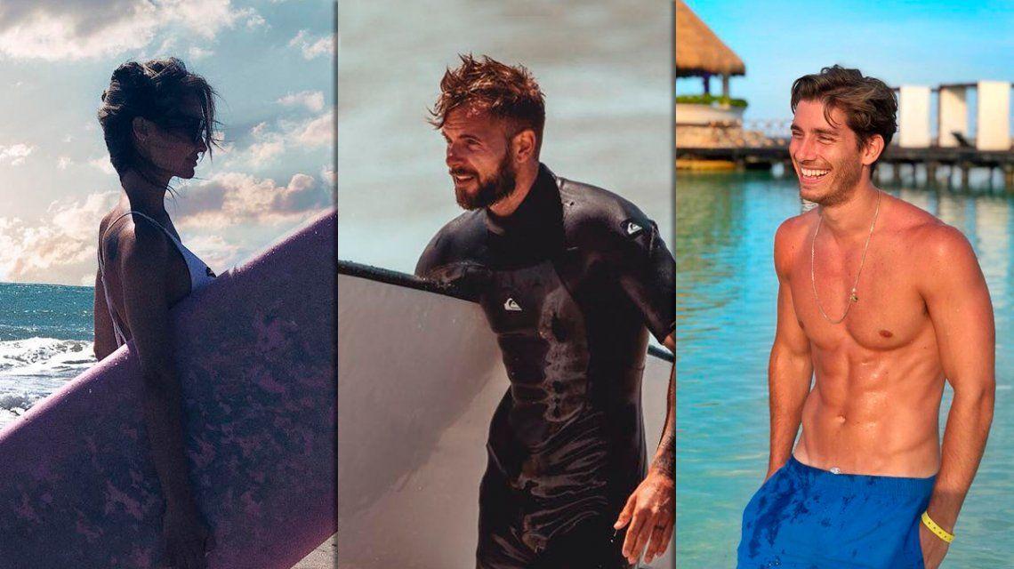 Melina Pitra, Fabián Assmann y Vico DAlessandro, a puro surf en Mar del Plata