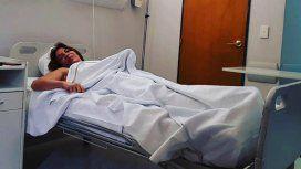 Lizy Tagliani en el hospital antes de su operación