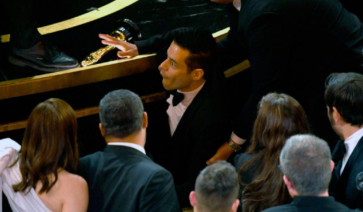 El video de Rami Malek cuando se cayó luego de recibir el premio a Mejor Actor