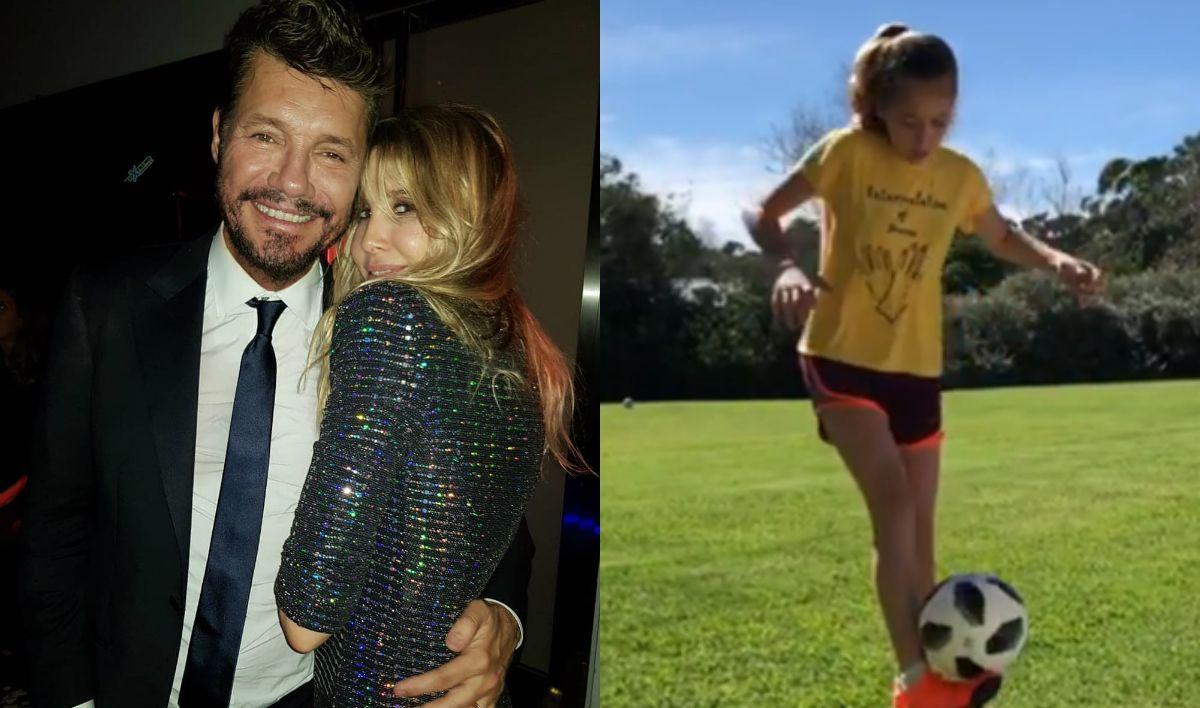 Los videos de la hija de Guillermina Valdes jugando al futbol, con una mojadita de oreja a Marcelo Tinelli