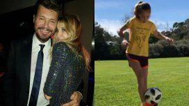 Los videos de la hija de Guillermina Valdes jugando al futbol, con una mojadita de oreja a Tinelli