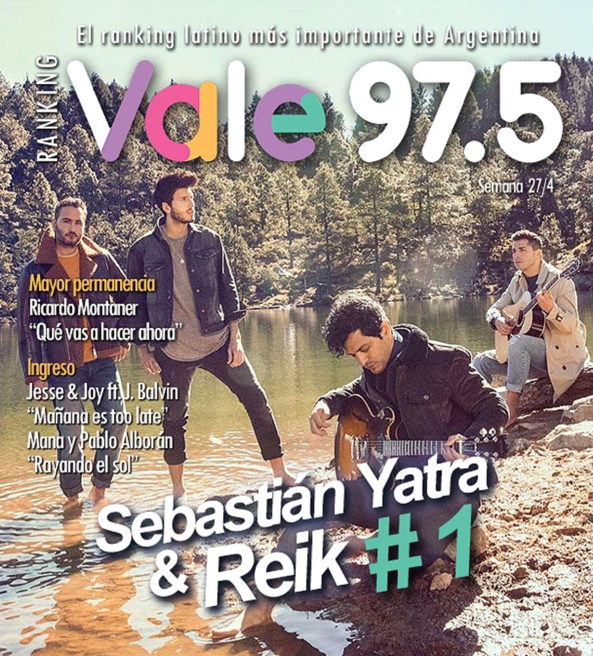 Sebastián Yatra y Reik llegaron a la cima del Ranking Vale