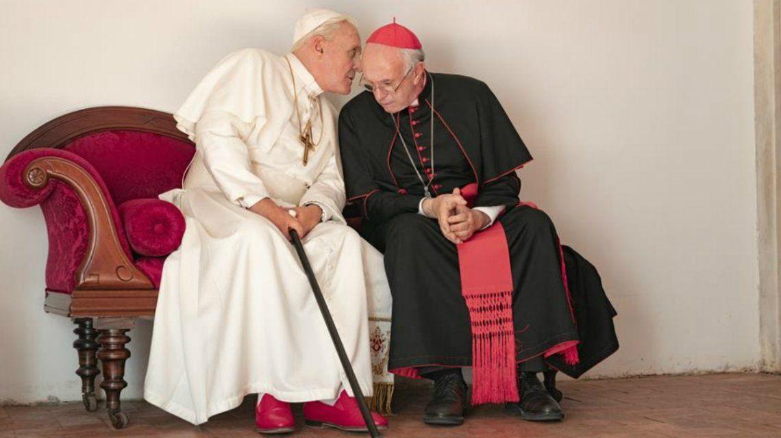 La primera foto de Anthony Hopkins y Jonathan Pryce en Los Dos Papas