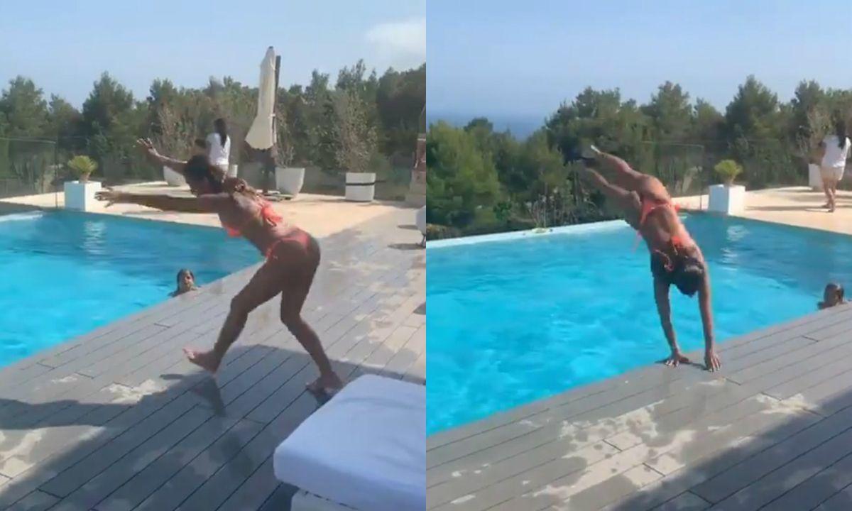 VIDEO: Anto Roccuzzo sorprendió con una jugada acrobacia en la pileta