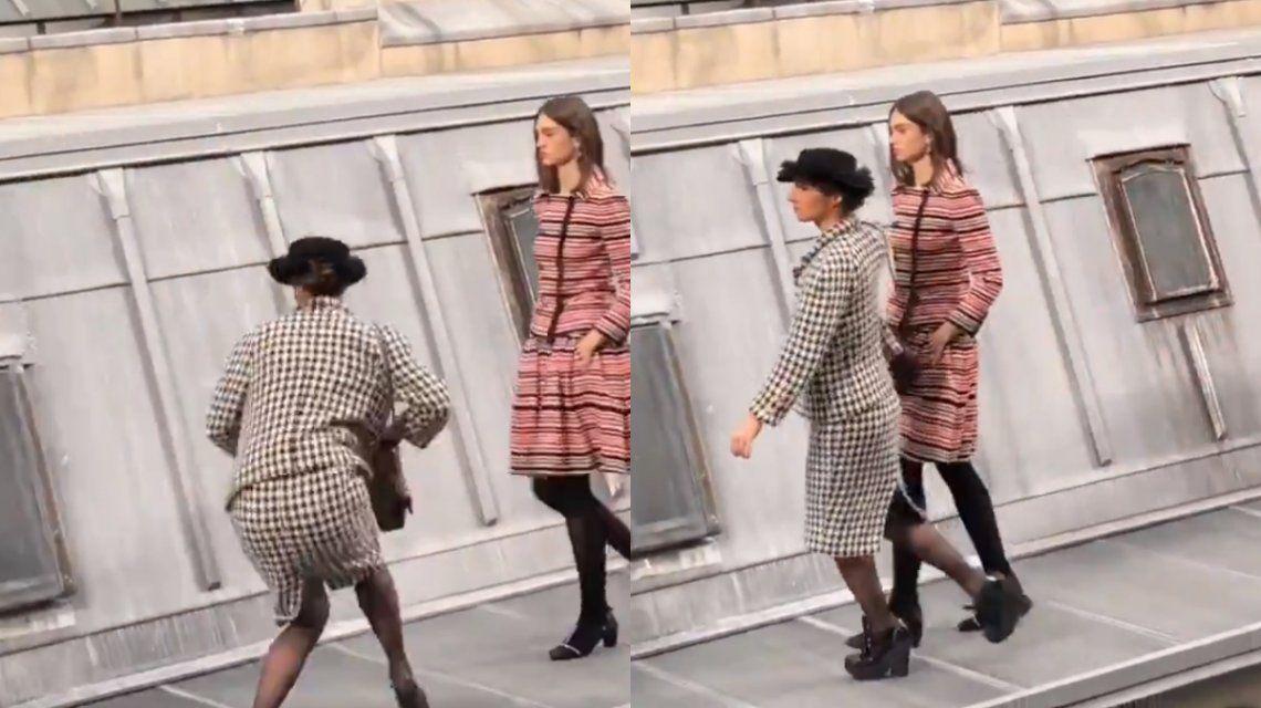 VIDEO: Una mujer se coló en un desfile y Gigi Hadid la sacó de la pasarela