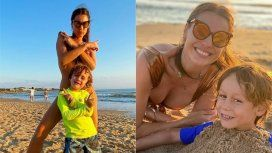 Las vacaciones de Pampita en Punta del Este: juegos en la arena con sus hijos, amigos y fotos en micro bikini