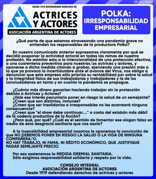 Denuncia de Asociación Argentina de Actores contra la productora de televisión Pol-ka