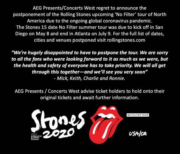 Mick Jagger, Keith Richards, Ron Wood y Charlie Watts firman el comunicado de The Rolling Stones: bajan la gira por el coronavirus