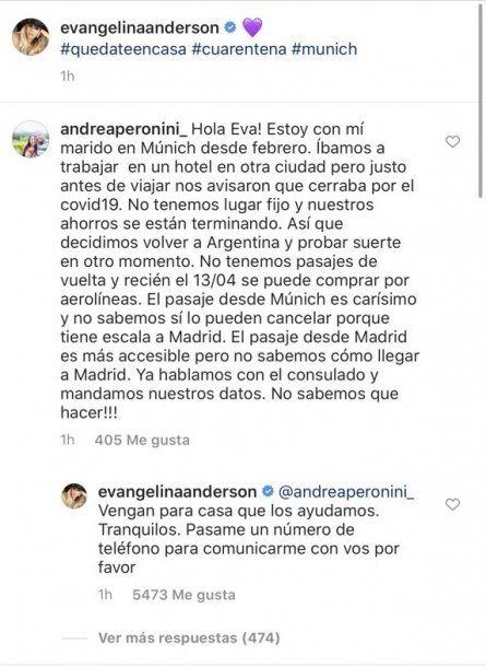El mensaje de Evangelina Anderson en Instagram