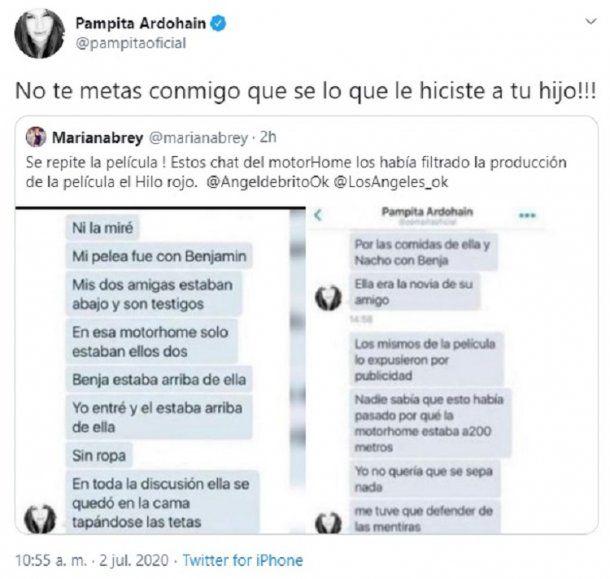 El retuit con comentario que salió de la cuenta de Pampita aludiendo a Mariana Brey