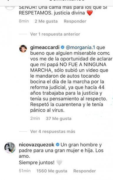 Respuesta de Gimena Accardi a un hater.