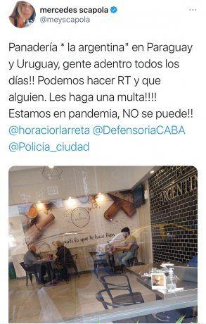 Publicación en Twitter de Mercedes Scápola.