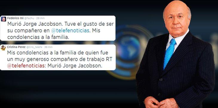 Dolor en las redes sociales por la muerte del periodista Jorge Jacobson