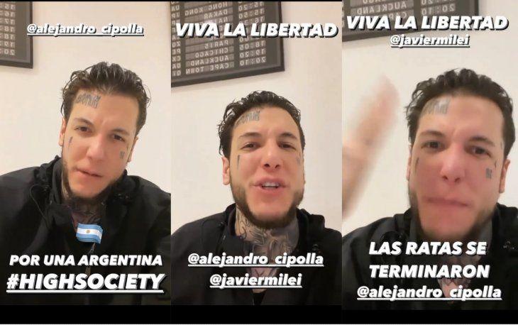 Alex Caniggia se lanzó a la política: Se viene una revolución con mi amigo el peluca Milei