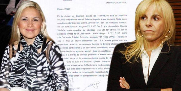Este es el acuerdo que firmaron Claudia Villafañe y Verónica Ojeda